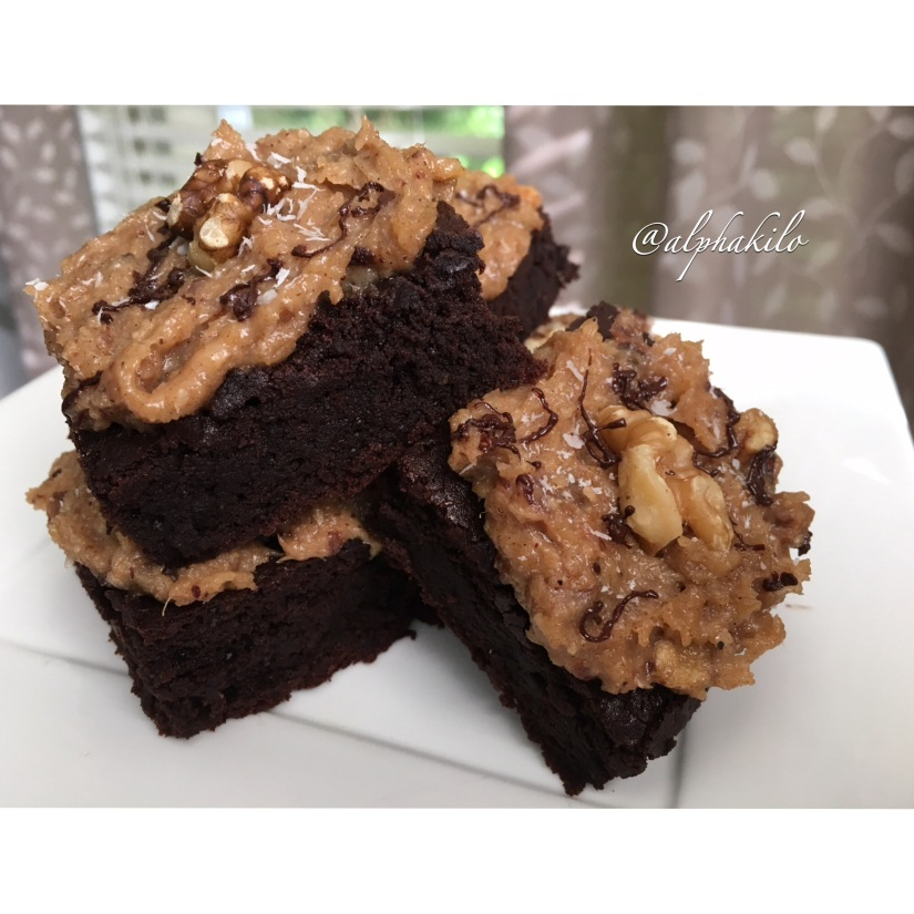 German Chocolate Protein Brownies